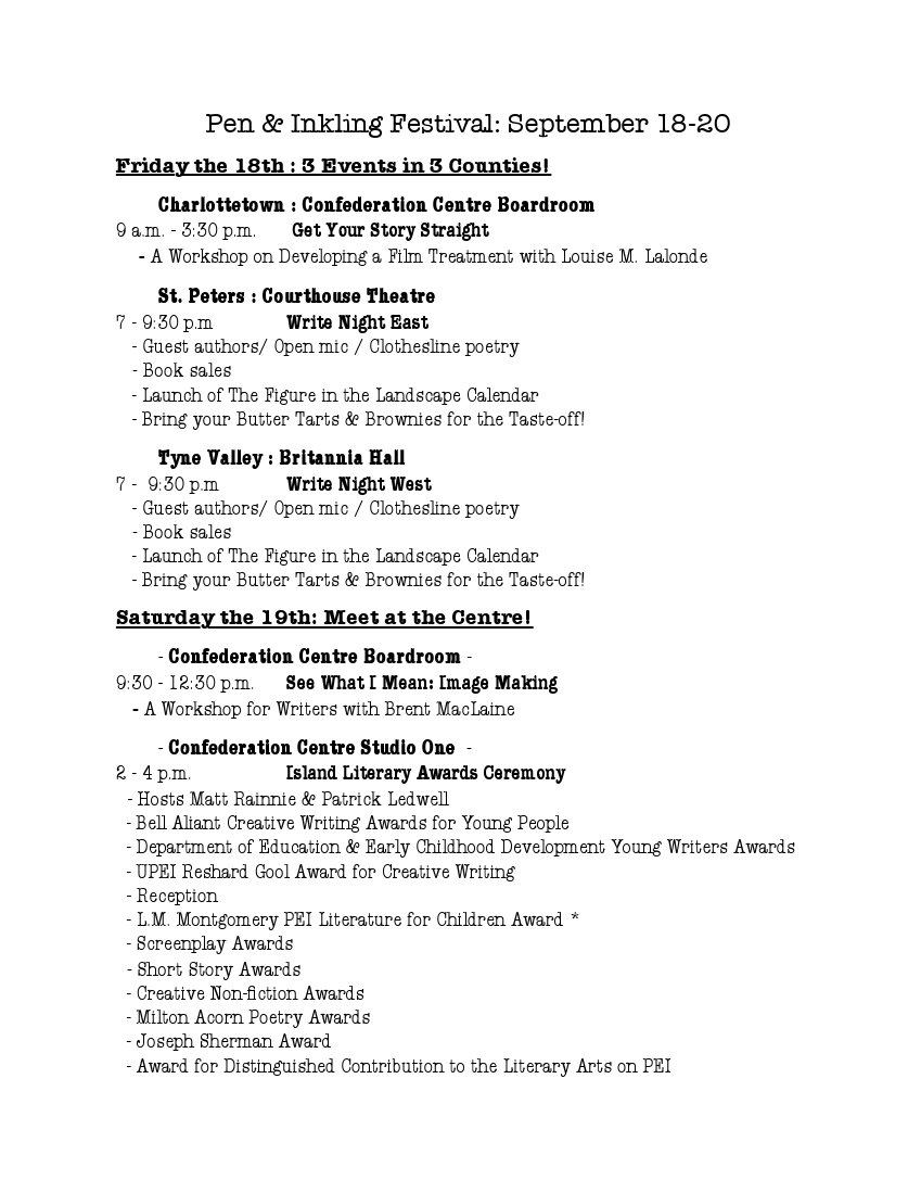 The Schedule of Events for the Pen & Inkling Festival 1