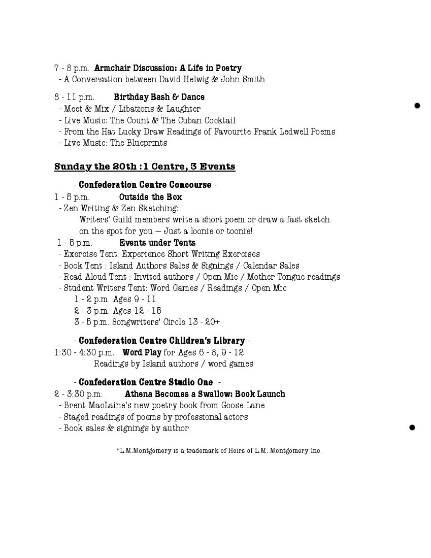 The Schedule of Events for the Pen & Inkling Festival 2