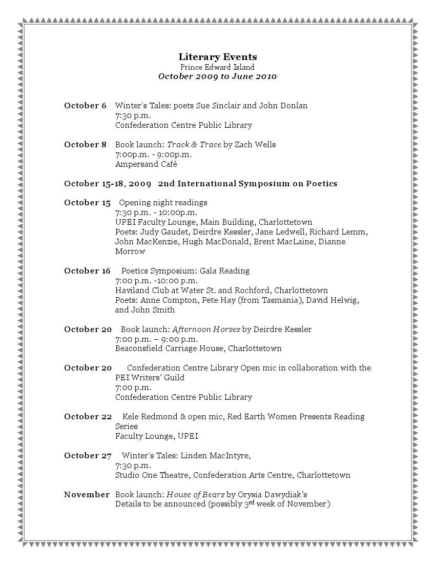 Literary Schedule 2009-1